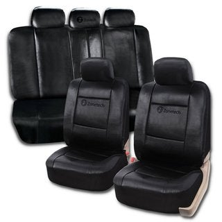 Zone Tech Black Universal PU Leather 11-piece Car Seat Covers
