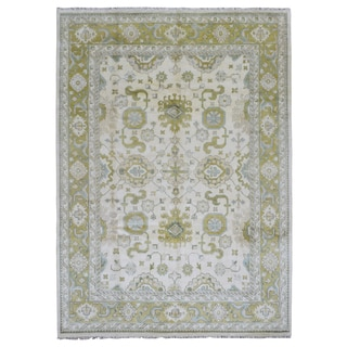 FineRugCollection Handmade Oushak Beige & Green Wool Rug (8'10 x 12'1)
