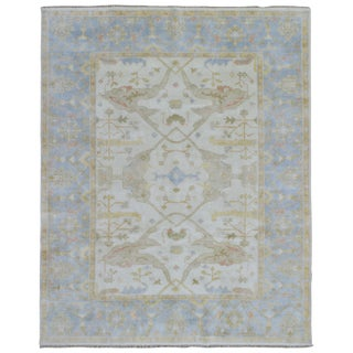 FineRugCollection Oushak Oriental Beige/Blue Wool Hand-knotted Area Rug (8' x 9'11)