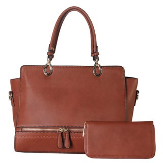 Diophy Brown Faux Leather Front Zipper 2-piece Tote and Wallet Set