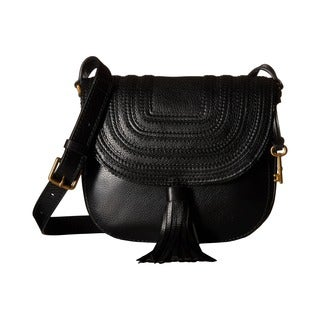 Fossil Black Leather Saddle Crossbody Handbag