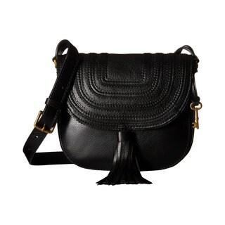 Fossil Black Leather Saddle Crossbody Handbag