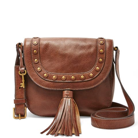 Fossil Emi Brown Leather Saddle Bag