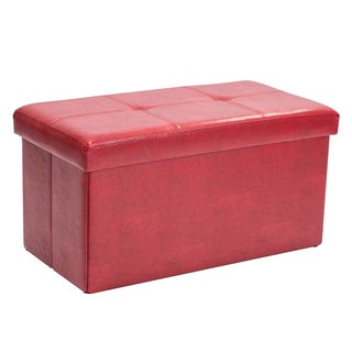 Simplify Red Faux Leather Double Folding Storage Ottoman