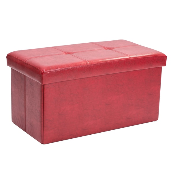 Shop Simplify Red Faux Leather Double Folding Storage