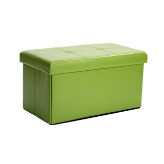 Simplify Lime Faux Leather Double Folding Storage Ottoman