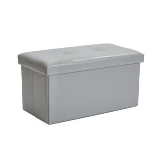 Simplify Grey Faux Leather Double Folding Storage Ottoman