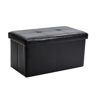 Simplify Black Faux Leather Double Folding Storage Ottoman