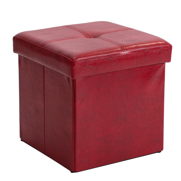 Simplify Red Faux Leather Folding Storage Ottoman Cube