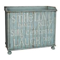 Hand Painted Distressed Rustic Blue Wine Cabinet