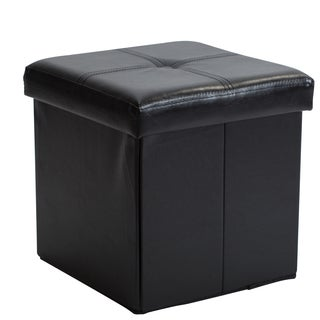 Simplify Black Leather Folding Storage Ottoman Cube