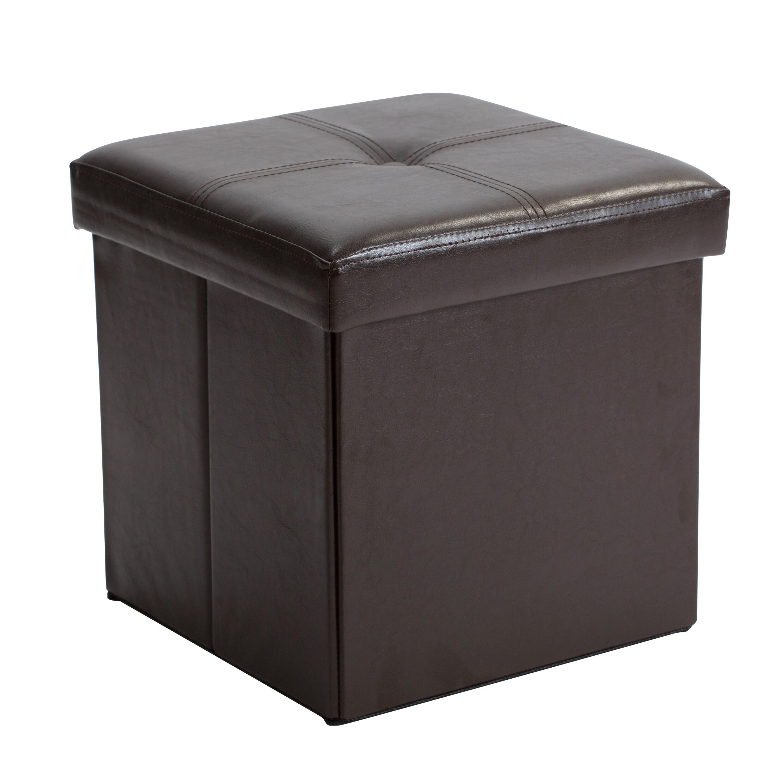 Simplify Chocolate Faux Leather Folding Storage Ottoman C...