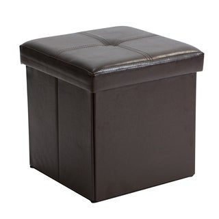 Simplify Chocolate Faux Leather Folding Storage Ottoman Cube