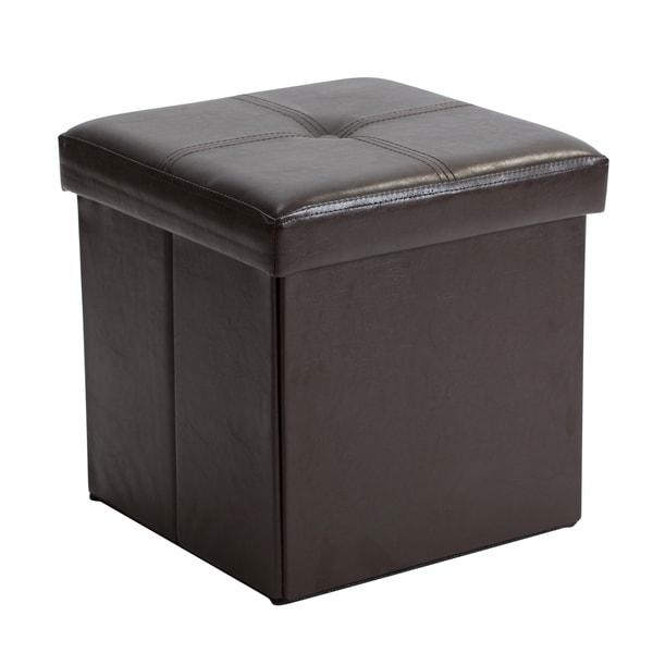 Simplify Chocolate Faux Leather Folding Storage Ottoman Cube