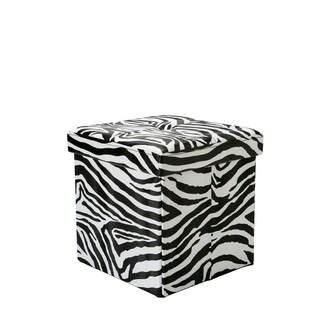 Simplify Black/White MDF/Faux-lather Zebra Pring Folding Storage Ottoman Cube