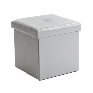 Simplify Grey Faux Leather Folding Storage Ottoman Cube