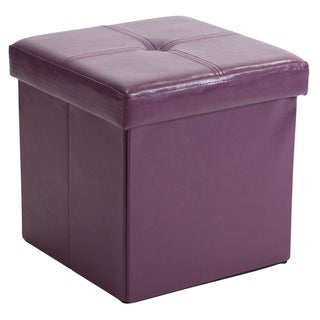 Simplify Purple MDF/Faux-leather Folding Storage Ottoman Cube