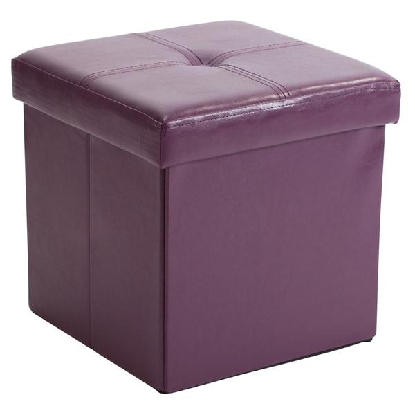 Simplify Purple MDF/Faux-leather Folding Storage Ottoman Cube  sc 1 st  Overstock.com & Shop Simplify Purple MDF/Faux-leather Folding Storage Ottoman Cube ...