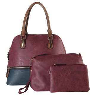 Diophy Women's Faux Leather Two Tone Bowling Satchel Bag (3-piece Set)