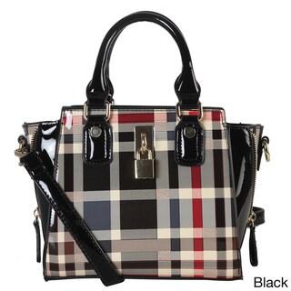 Diophy Plaid Faux Leather Structured Mini Crossbody Handbag