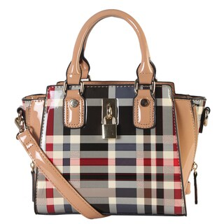 Diophy Plaid Faux Leather Structured Mini Crossbody Handbag