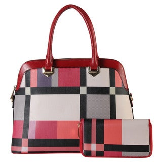 Rimen & Co. Red and Black Plaid Faux Leather Tote and Wallet Set