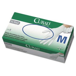 Curad 3G Synthetic Vinyl Exam Gloves, Powder-Free, Medium, 100/Box