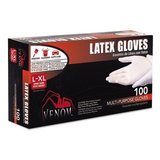 Medline Venom Multi-Purpose Latex Gloves, L/X-Large, Clear, Powdered, 100/Box