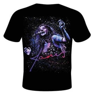 Stephen Fishwick 'Janis Joplin Kozmic Blues Black Cotton T-shirt