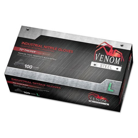 Medline Venom Steel Industrial Nitrile Gloves, Large, Black, 6 mil, 100/Box