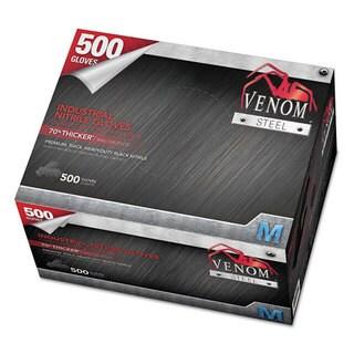 Medline Venom Steel Industrial Nitrile Gloves, Medium, Black, 9 mil, 500/Box