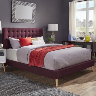 Niels Danish Modern Tufted Fabric Upholstered King Size Bed iNSPIRE Q Modern (Option: Tawny Port Bed)