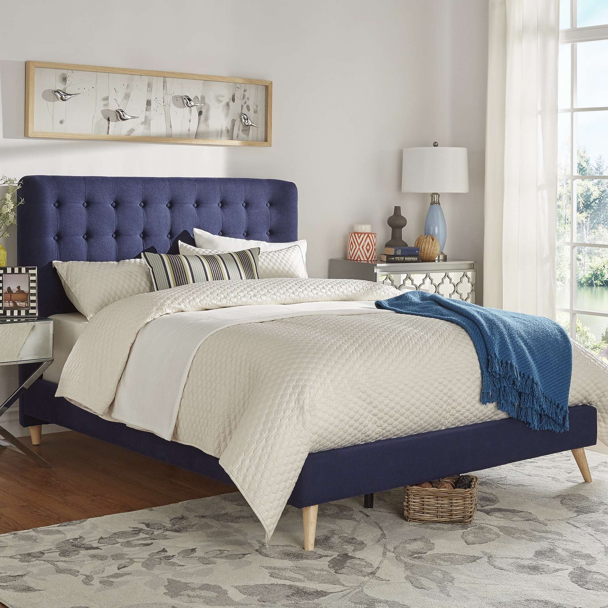 Niels Danish Modern Tufted Fabric Upholstered King Size B...