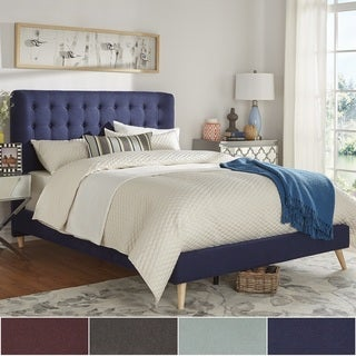 niels danish modern tufted fabric upholstered queen size bed inspire q modern - Blue Bed Frame