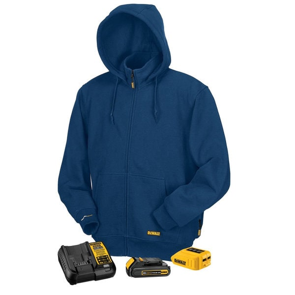 Dewalt Blue Fleece MAX Lithium-ion Heated Hoodie with Charger and Adapter