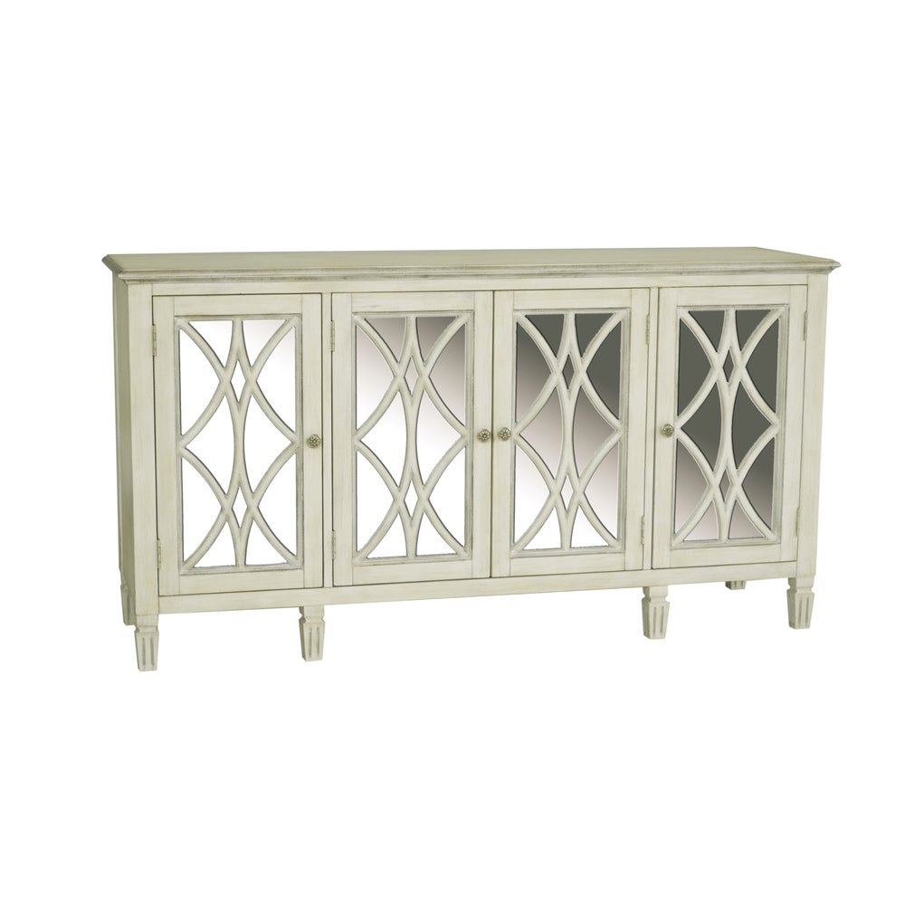 Sofaweb.com Hand Painted Distressed Aged White Finish Console/Credenza (Credenza)