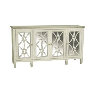 Hand Painted Distressed Aged White Finish Console/Credenza