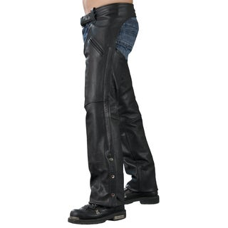 Men's Black Leather Slash Pocket Chaps