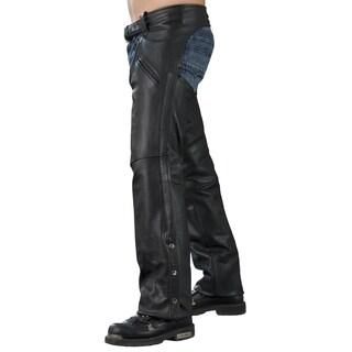 Men's Black Leather Slash Pocket Chaps