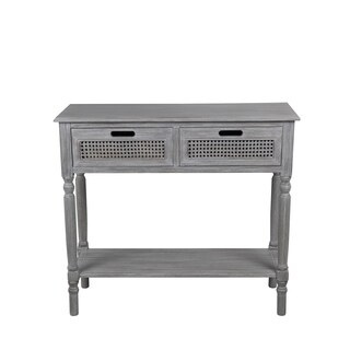 Privilege Slate Grey Wood 2-drawer Console Table