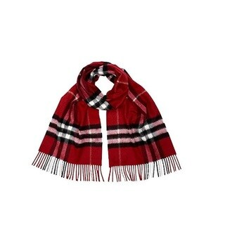 Burberry Red Check Cashmere Scarf