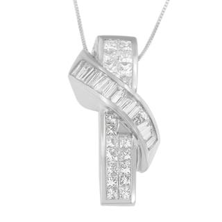14k White Gold 2 2/5ct TDW Princess and Baguette-cut Diamond Wrap Pendant (H-I, SI1-SI2)