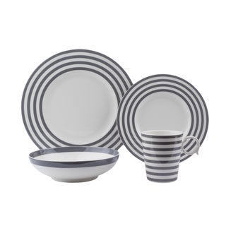 Red Vanilla Grey/White Porcelain 16-piece Place Setting