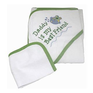 Baby Gift Idea 'Daddy Is My Best Friend' Green and White Cotton Hooded Towel