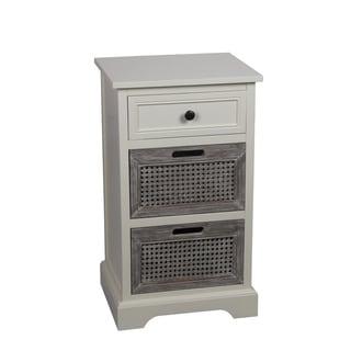 Privilege Off-White Wood 3-drawer Storage Unit