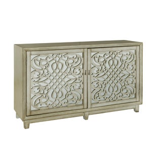 Hand Painted Distressed Metallic Gold Finish Credenza