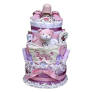 Baby Gift Idea Girls' Decorative Centerpiece Newborn Baby Shower 3-tiered Diaper Cake