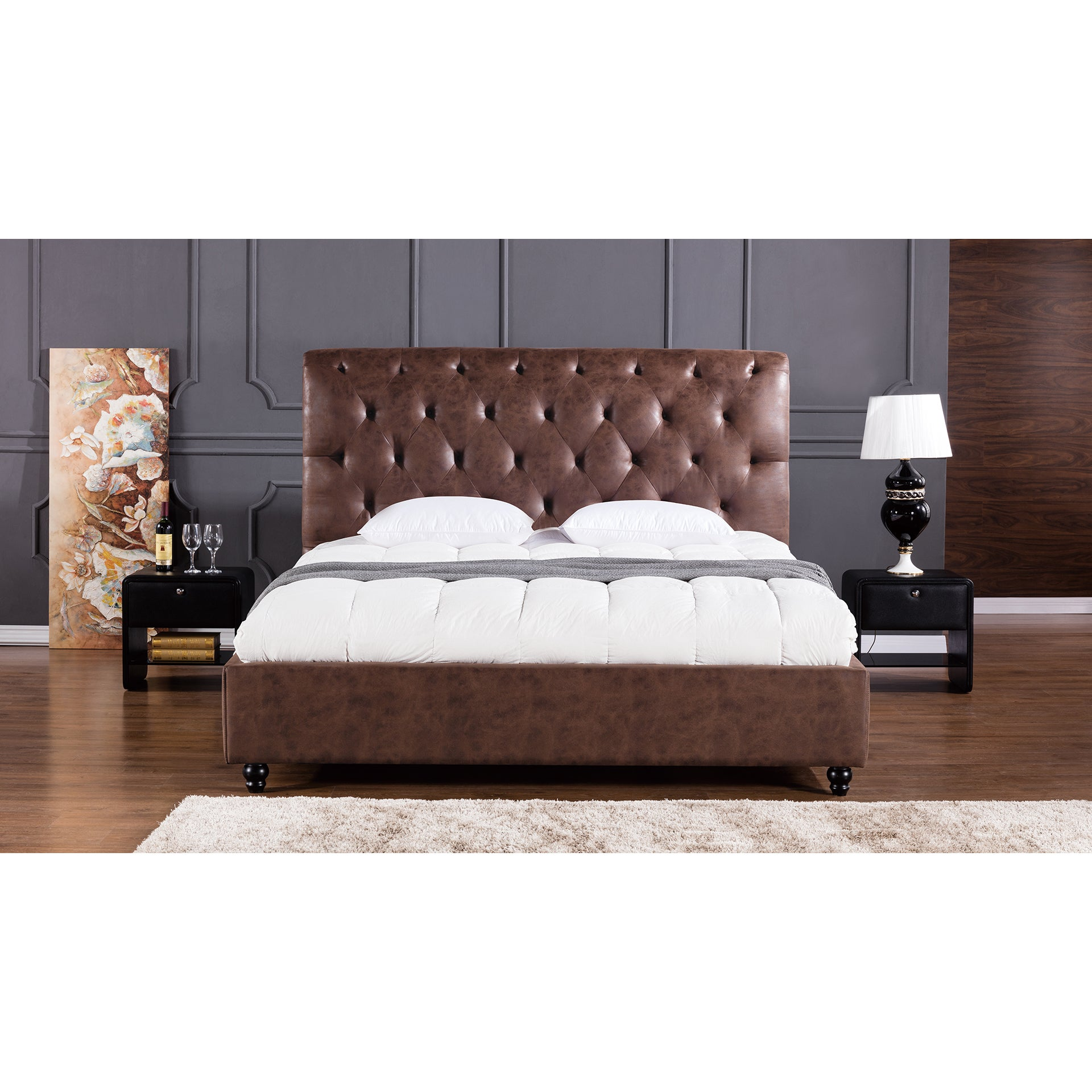 American Eagle Brown Leather Air Fabric Bed (Queen)