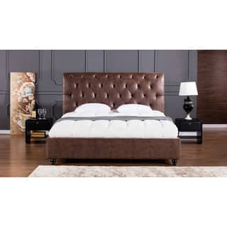 brown leather air fabric bed - Leather Bed