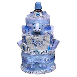 Baby Gift Idea Boy Decorative Centerpiece Newborn Baby Shower 3-tiered Diaper Cake